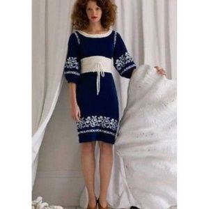 Lia Molly Anthropologie Navy Ivory Sweater Dress